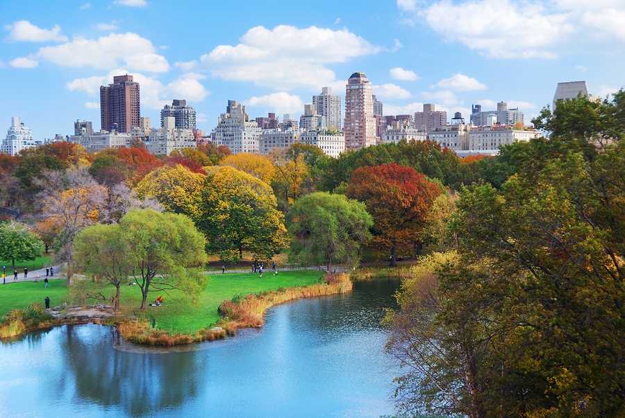 New York City Manhattan Central Park panorama in Autumn lake wit